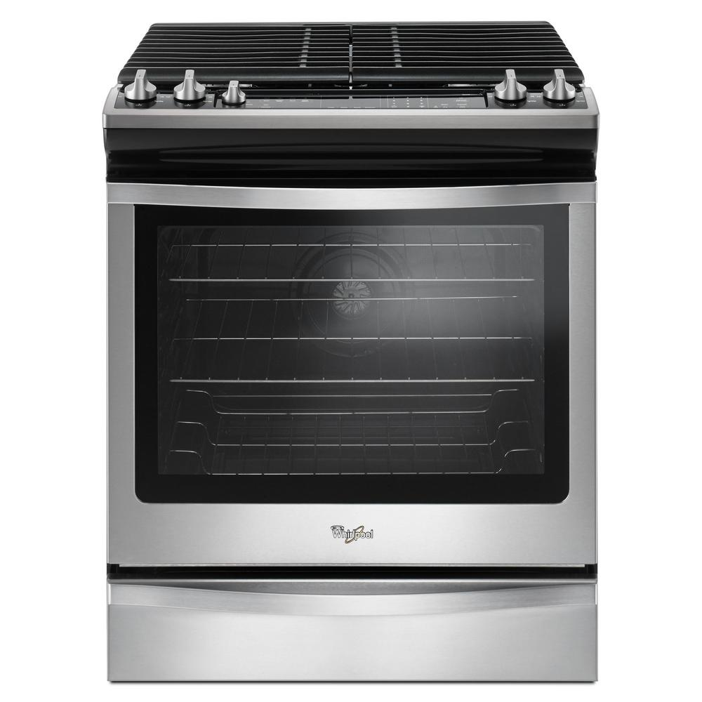 Whirlpool 5 8 Cu Ft Slide In Gas Range With Center Oval Burner Stainless Steel