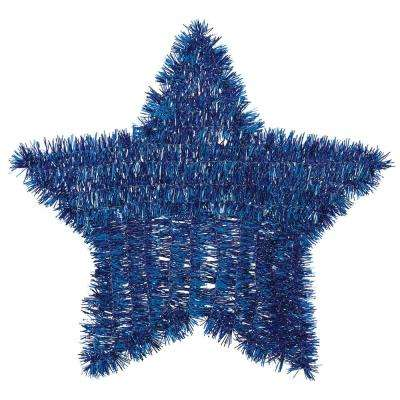 11.5 in. x 12 in. Blue Tinsel Star Decoration (6-Pack)