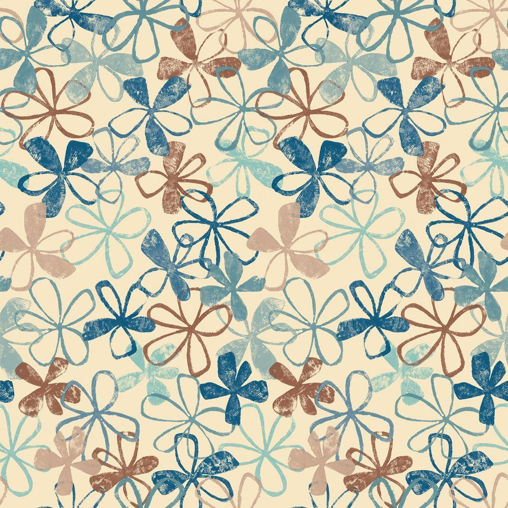 null 56 sq. ft. Blue and Brown Funky Floral Wallpaper