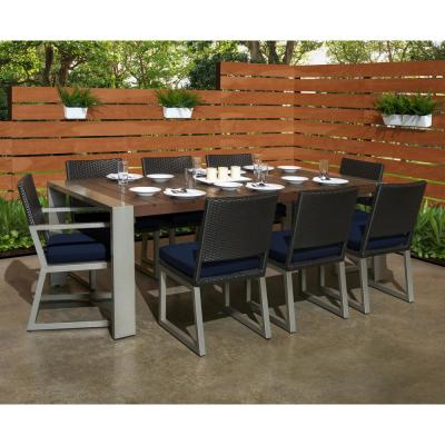 Milo Espresso 9-Piece Wicker Outdoor Dining Set with Sunbrella Navy Blue Cushions