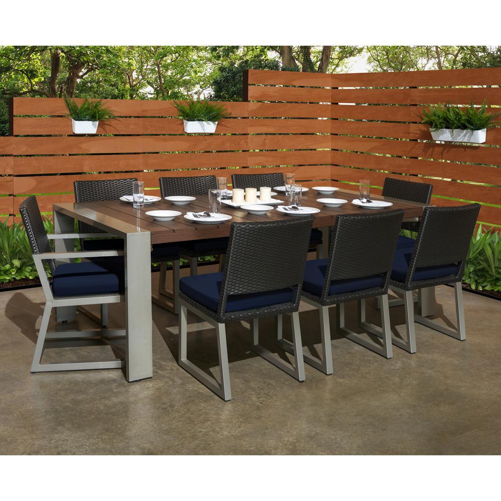 Milo Espresso 9-Piece Wicker Outdoor Dining Set with Sunbrella Navy Blue Cushions