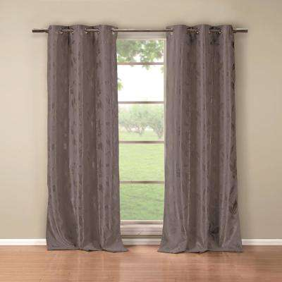 Blair 84 in. L x 36 in. W Polyester Blackout Curtain Panel in Grey (2-Pack)