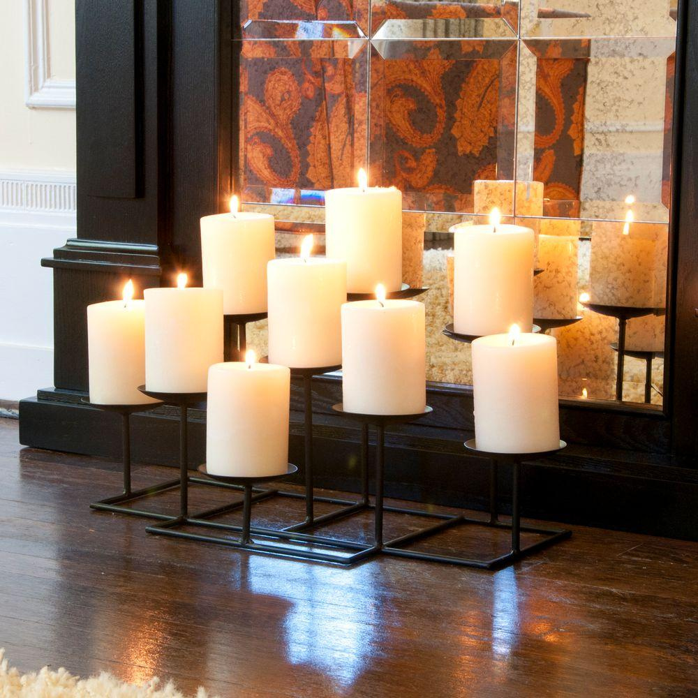 21.5 in. 9-Candle Candelabra Free Standing, Blacks