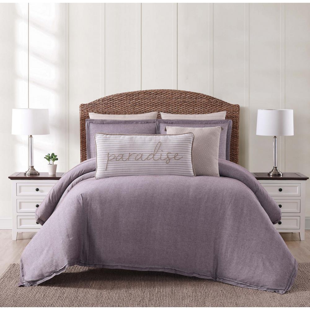 Oceanfront Resort Oceanfront Resort Chambray Coast Plum King Comforter with 2-Shams, Purple