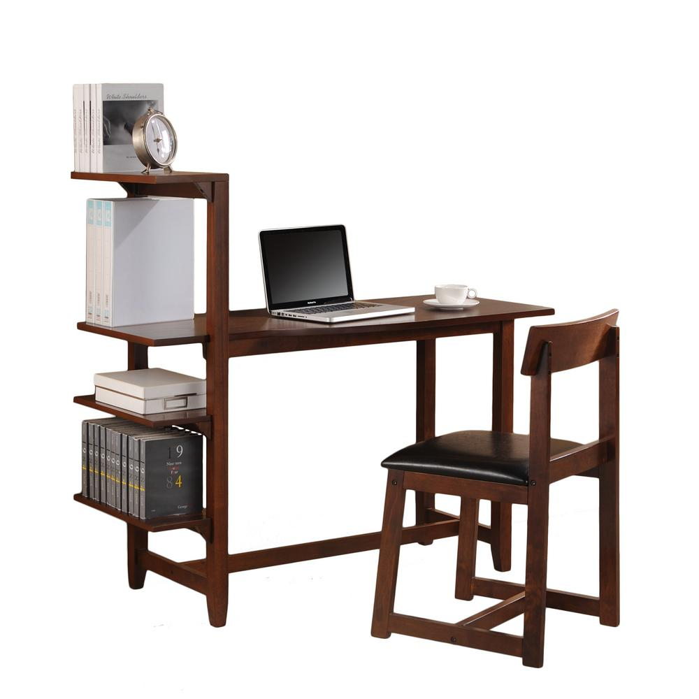Hamburg Contemporary Washington Gany Study Set With Side Shelf Desk And Chair