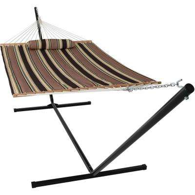 10-1/2 ft. Quilted Fabric Hammock with 15 ft. Hammock Stand in Sandy Beach