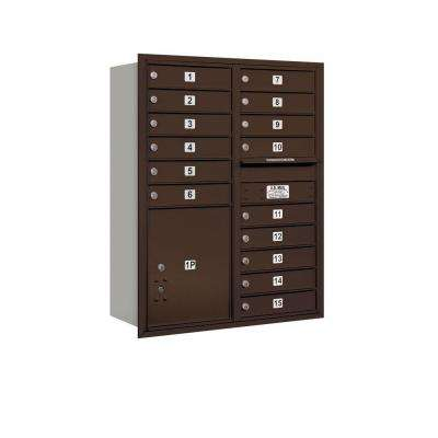 41 in. H x 31-1/8 in. W Bronze Rear Loading 4C Horizontal Mailbox with 15 MB1 Doors/1 PL5