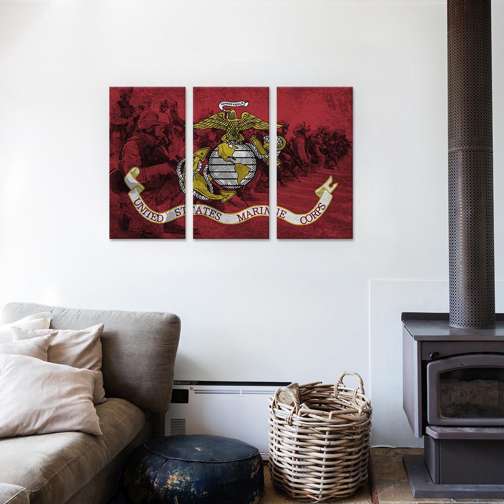 """U.S. Marine Corps Flag (Platoon Background)"" by iCanvas Canvas Wall Art"