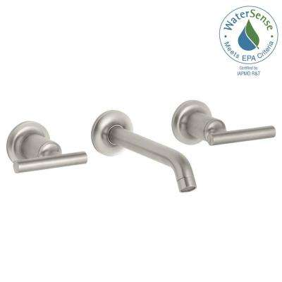 Purist 8 in. 2-Handle Low-Arc Wall Mount Water-Saving Bathroom Faucet Trim Only in Vibrant Brushed Nickel