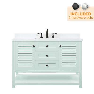Grace 48 in. W x 22 in. D Bath Vanity in Minty Latte with Cultured Marble Vanity Top in White with White Basin