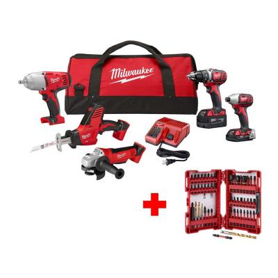 M18 18-Volt Lithium-Ion Cordless Combo Tool Kit (5-Tool) with Bit Set, 2 Batteries, Charger, Tool Bag