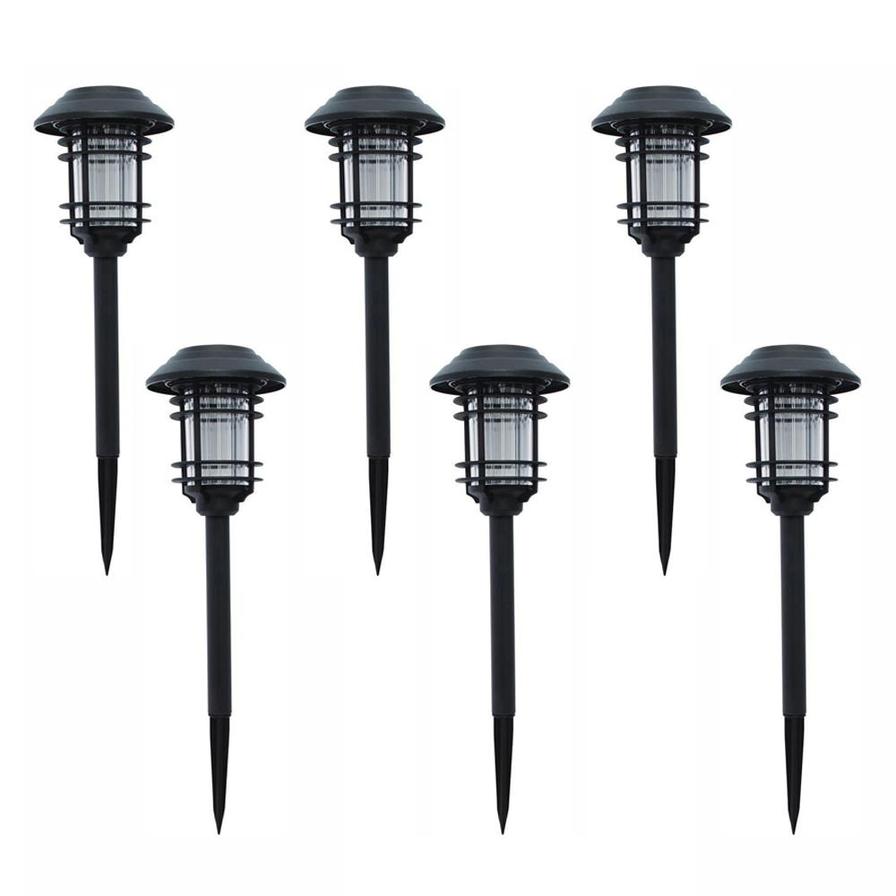 Hampton Bay Solar Black Outdoor Integrated Led Landscape Path Light 6 Pack