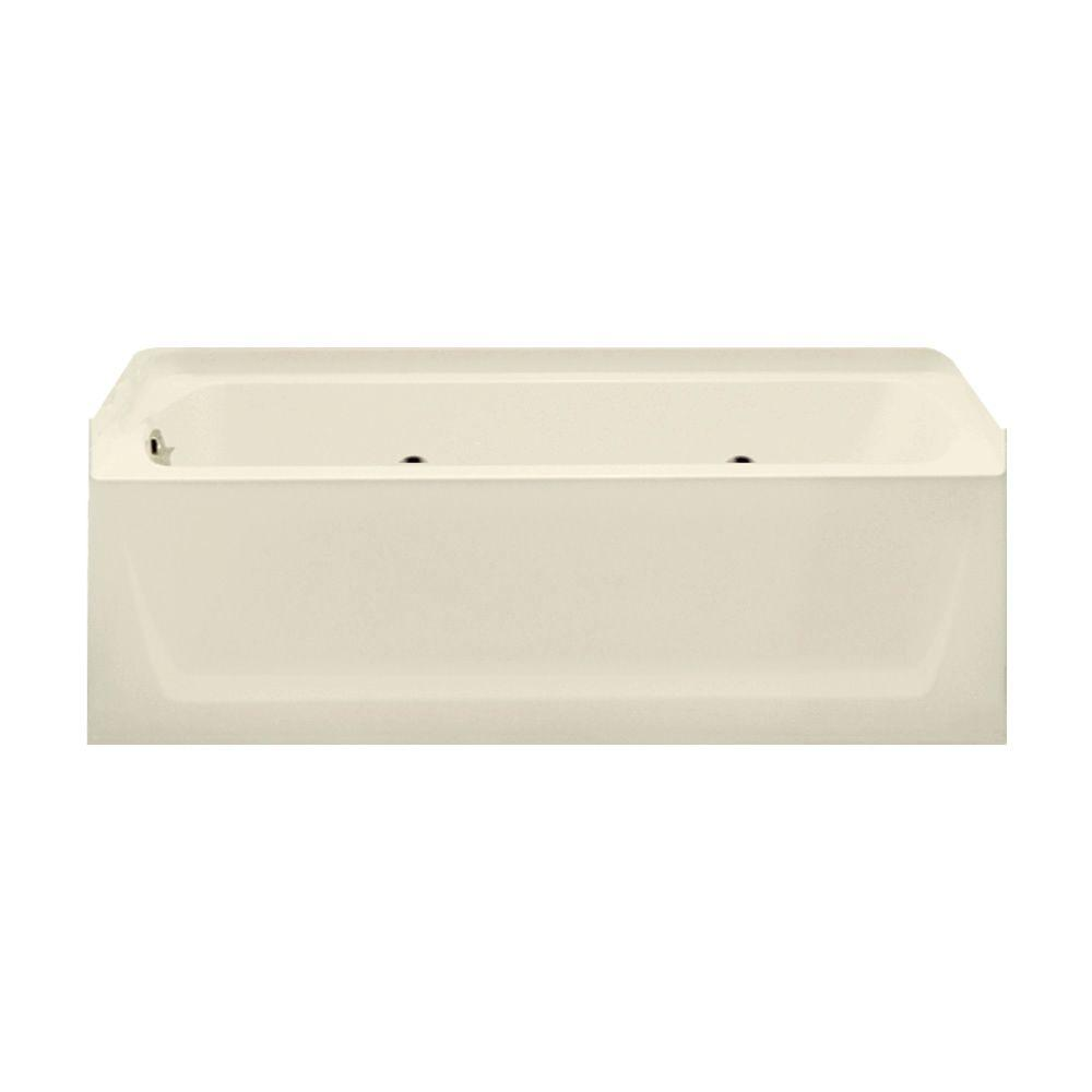 STERLING Ensemble 5 ft. Left-Drain Rectangular Alcove Whirlpool Bathtub in Biscuit
