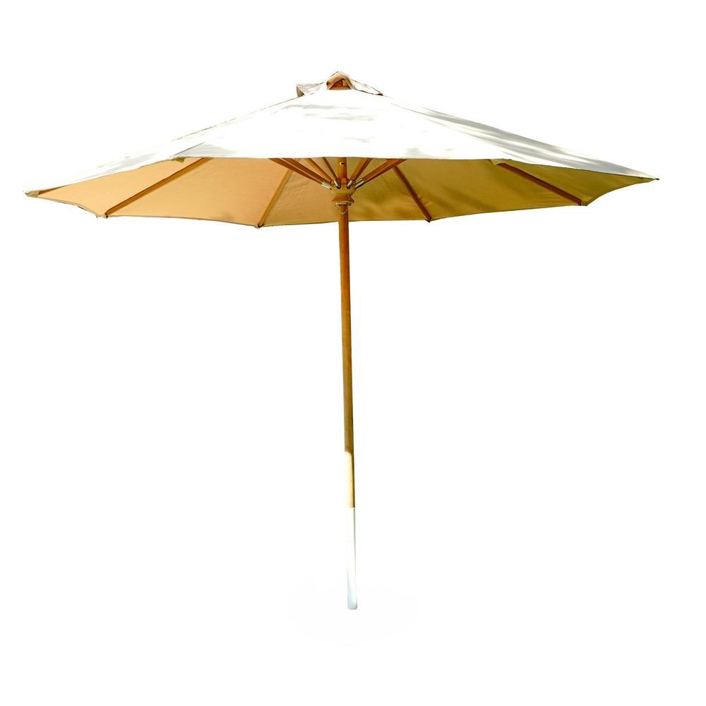 10 ft. Palmetto Teak Adjustable Market Outdoor Freestanding Patio Umbrella in Tan