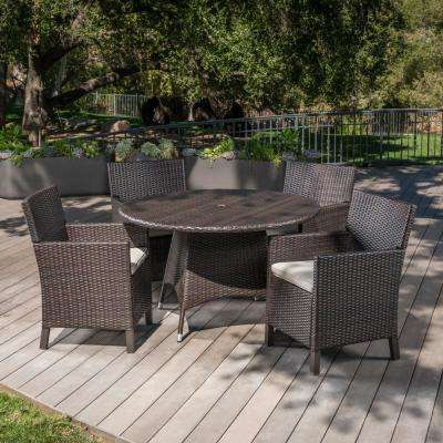 Cypress Multi-Brown 5-Piece Wicker Outdoor Dining Set with Light Brown Cushions