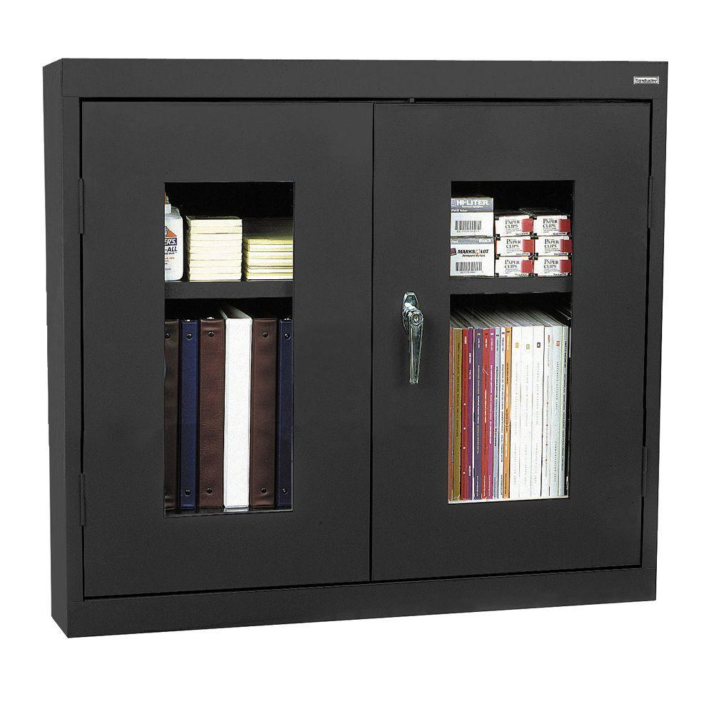 Sandusky 26 in. H x 30 in. W x 12 in. D Clear View Wall Cabinet in Black