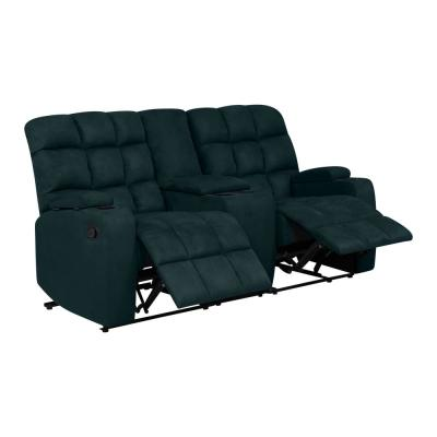 Deep Blue Wall Hugger 2-Seat Recliner Loveseat W/Power Storage Console Microfiber