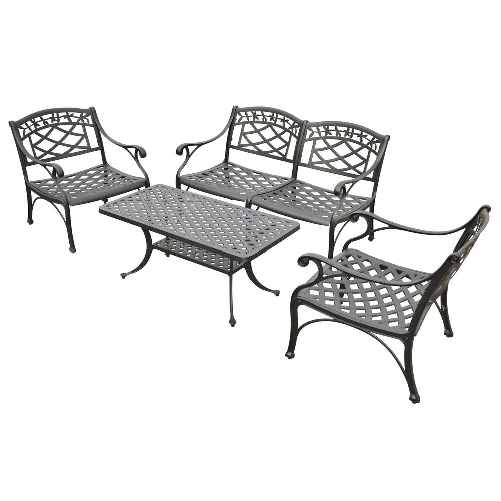 Crosley Sedona 4 Piece Cast Aluminum Outdoor Conversation Seating Set Loveseat 2 Club