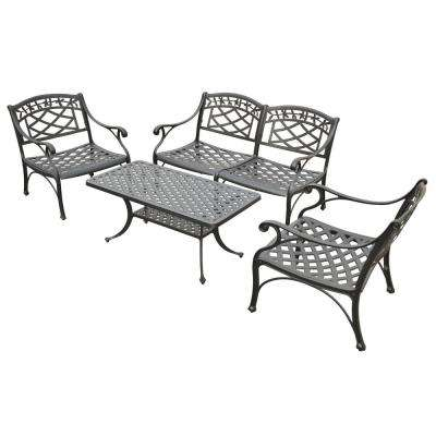 Sedona 4-Piece Cast Aluminum Outdoor Conversation Seating Set - Loveseat, 2 Club Chairs and Cocktail Table in Black