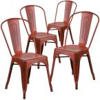 Stackable Metal Outdoor Dining Chair in Kelly Red (Set of 4)