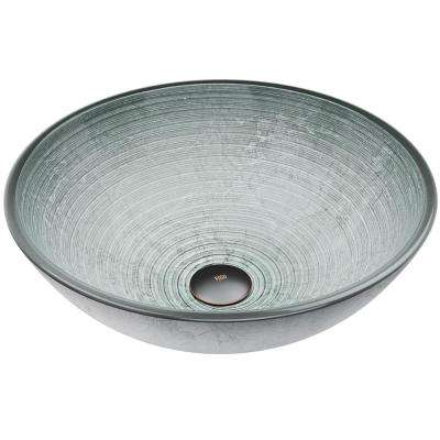 Simply Handmade Countertop Glass Round Vessel Bathroom Sink in Simply Silver