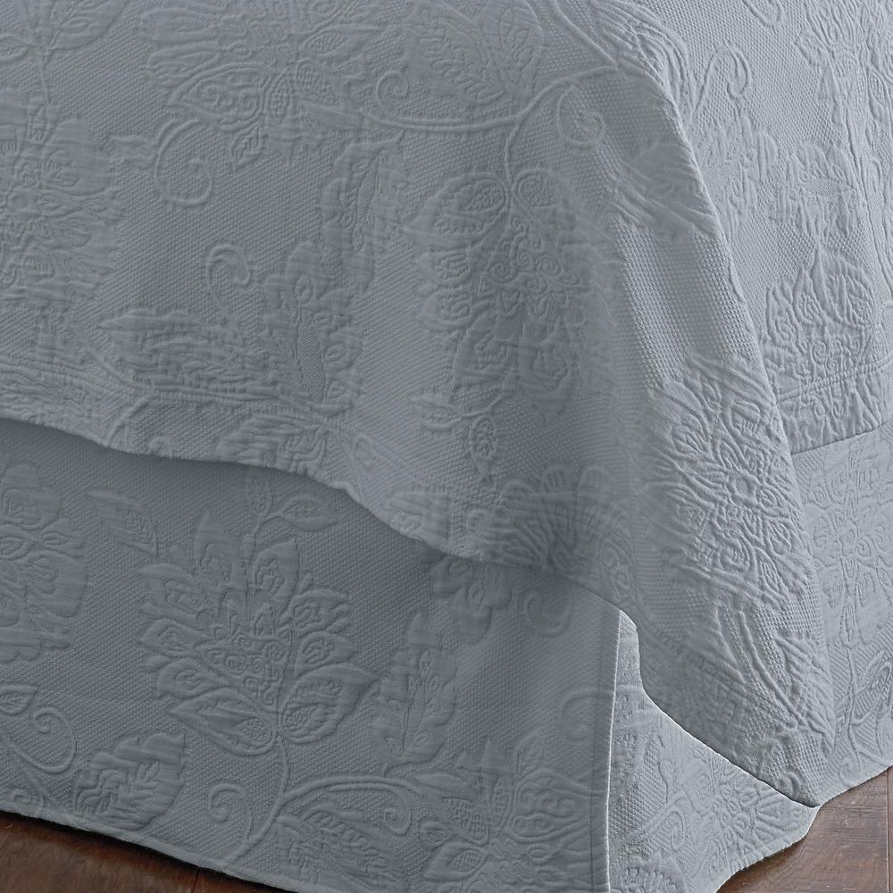 Putnam Matelasse Sterling Gray Twin Bed Skirt
