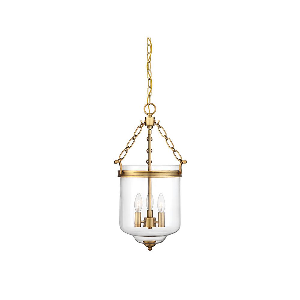 Filament Design 3-Light Natural Brass Pendant with Clear Glass