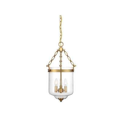 3-Light Natural Brass Pendant with Clear Glass
