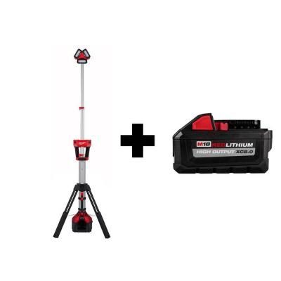 M18 18-Volt 3000 Lumens Lithium-Ion Cordless ROCKET LED Stand Work Light and Charger with Free HIGH OUTPUT 8.0Ah Battery