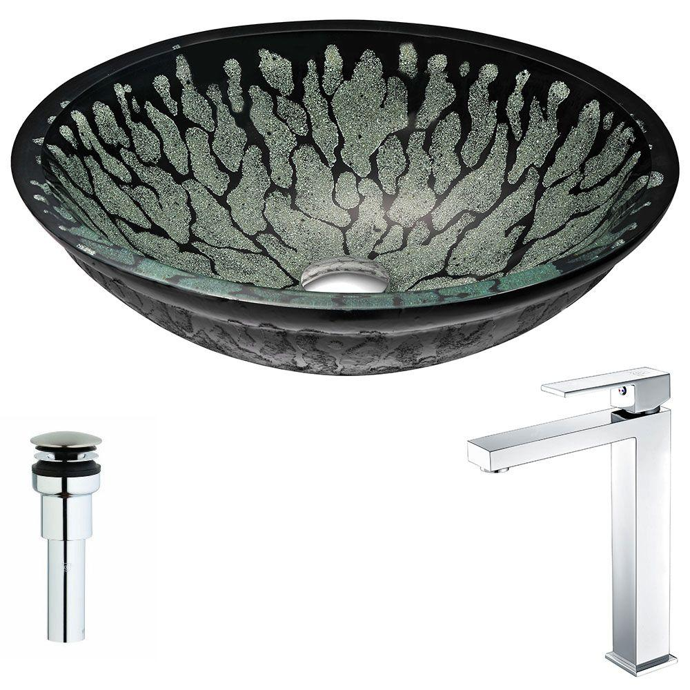 ANZZI Bravo Series Deco-Glass Vessel Sink in Lustrous Black with Enti Faucet in Polished Chrome was $343.0 now $275.19 (20.0% off)