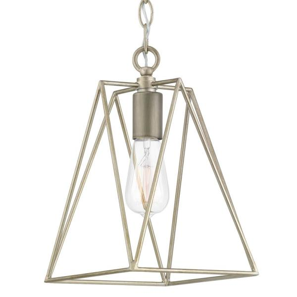 Ferncroft 1-Light Silver Ridge Mini-Pendant with Antique Nickel Accents