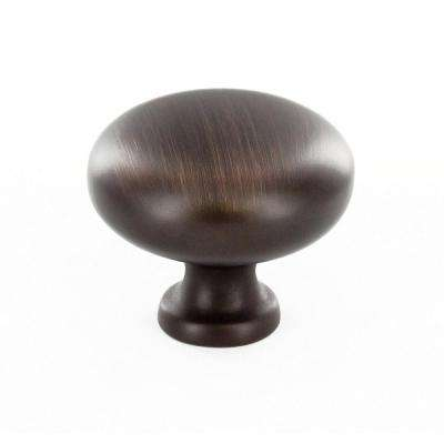 Contemporary 1-1/4 in. (32 mm) Brushed Oil-Rubbed Bronze Round Cabinet Knob