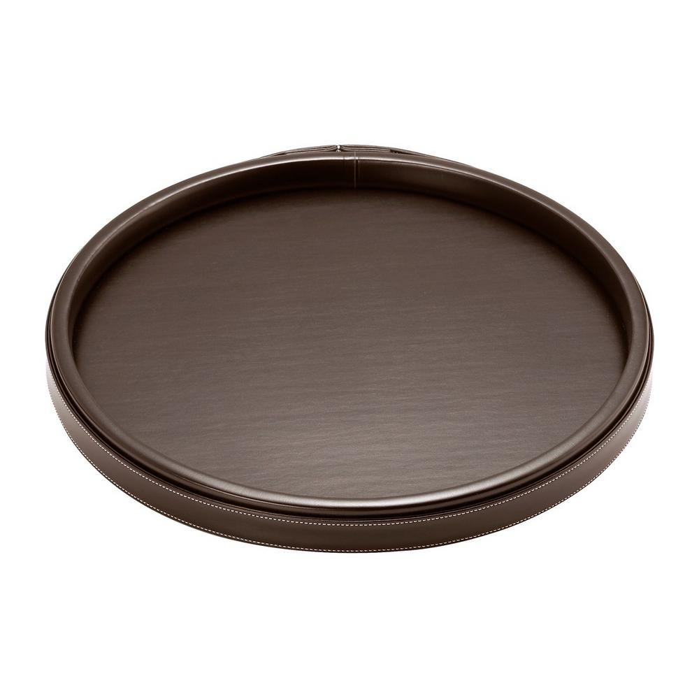 14 in. Stitched Chocolate Round Serving Tray