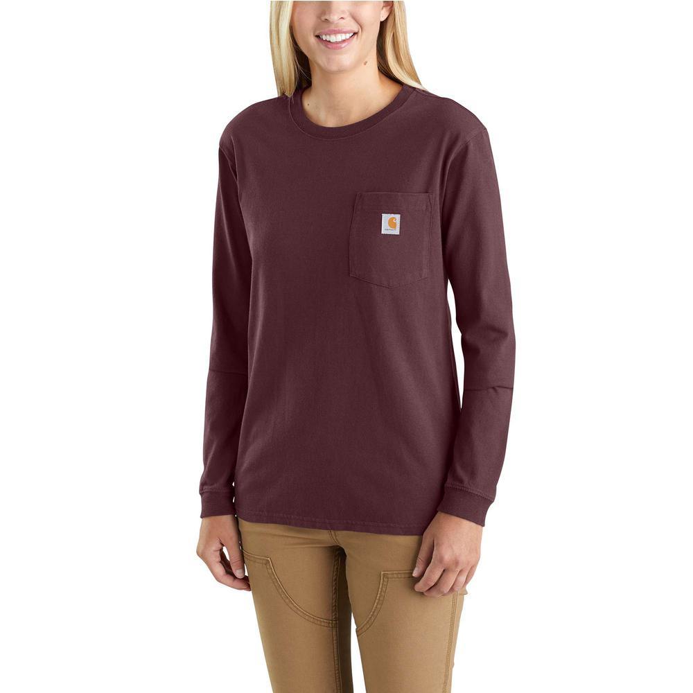 5299491feb Carhartt Women's X-Small Deep Wine Cotton Workwear Pocket Long Sleeve T- Shirt