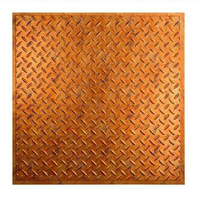 Diamond Plate - 2 ft. x 2 ft. Revealed Edge Vinyl Lay-In Ceiling Tile in Muted Gold