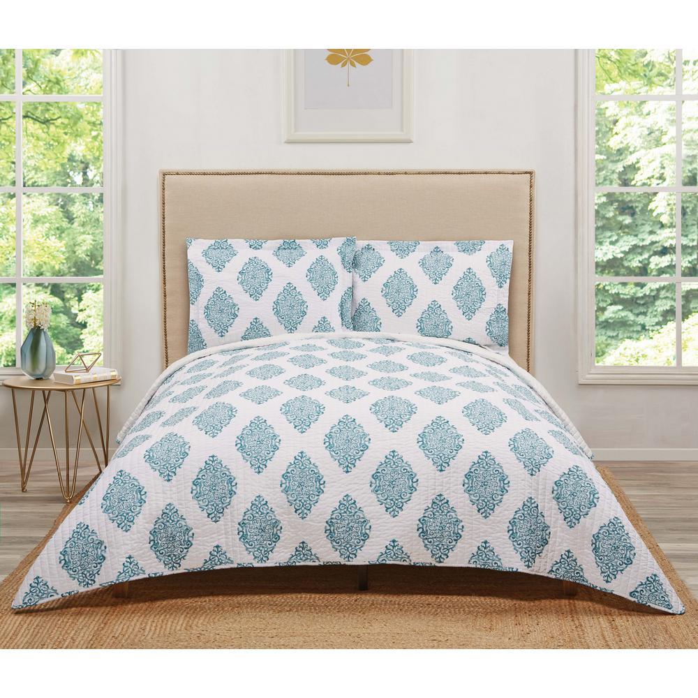 Annika Turquoises/Aqua Teal Geometric King Quilt Set