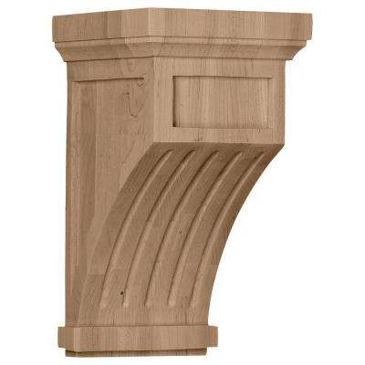 7 in. x 7-1/2 in. x 13 in. Cherry Fluted Mission Corbel