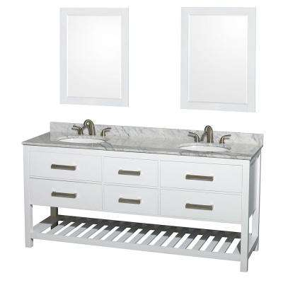 Natalie 72 in. Double Vanity in White with Marble Vanity Top in White Carrara, Under-Mount Oval Sinks and 24 in. Mirrors