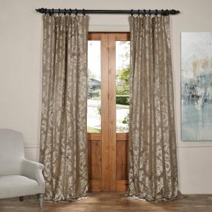 Exclusive Fabrics & Furnishings Astoria Bronze and Taupe Faux Silk Jacquard Curtain Panel - 50 inch W x 84 inch L by Exclusive Fabrics & Furnishings