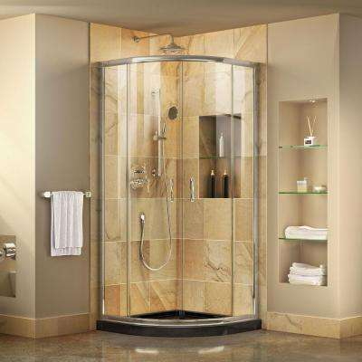 Prime 31-3/8 in. W x 72 in. H Corner Semi-Frameless Sliding Shower Enclosure in Chrome with Base in Black