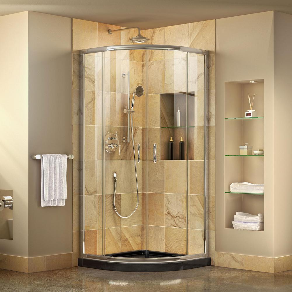 Prime 38 in. x 38 in. x 74.75 in. H Corner Semi-Frameless Sliding Shower Enclosure in Chrome with Shower Base in Black
