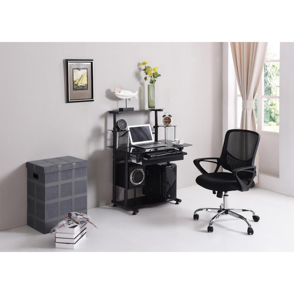 Black Adjustable Mid-back Mesh Swivel Office Chair