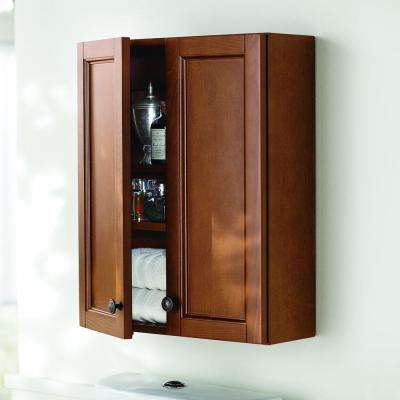 Catalina 21 in. W x 26 in. H x 8 in. D Over the Toilet Bathroom Storage Wall Cabinet in Amber