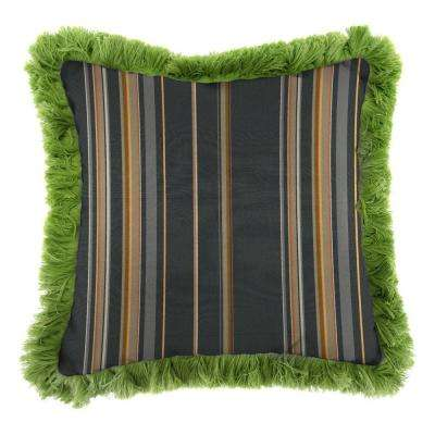 Sunbrella Stanton Greystone Square Outdoor Throw Pillow with Gingko Fringe