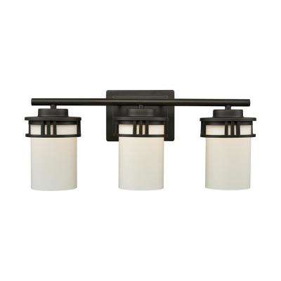 Ravendale 3-Light Oil Rubbed Bronze With Opal White Glass Bath Light