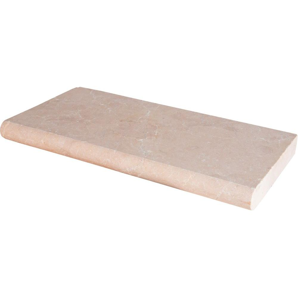 Aegean Pearl 12 in. x 24 in. Tumbled Marble Pool Coping