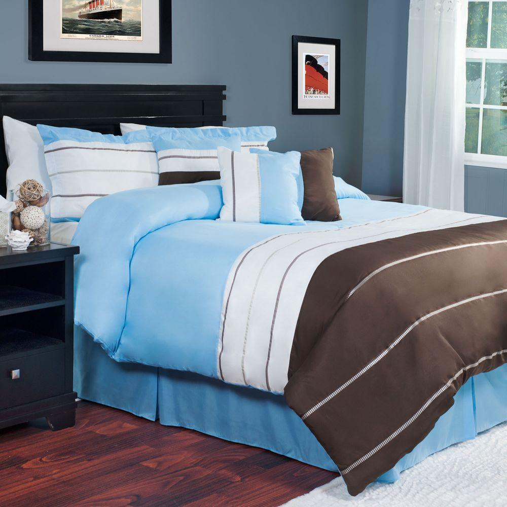 null Avery Blue 7-Piece Queen Comforter Set