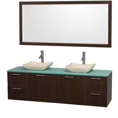Amare 72 in. Double Vanity in Espresso with Glass Vanity Top in Aqua and Marble Sink