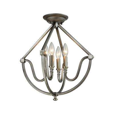 Stanton 4-Light Weathered Zinc Semi Flush Mount with Brushed Nickel Accents