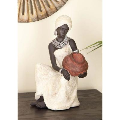10 in. African Woman Decorative Figurine in Textured Ebony, Beige, Brick Red, and Silver